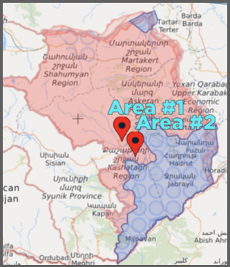 Investigated areas in Artsakh/ Nagorno-Karabakh affected by Azerbaijani white phosphorus incendiary attacks