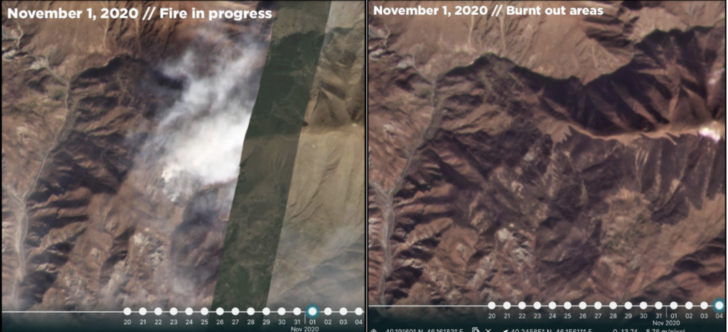 Satellite imagery confirms devastation in Armenian controlled Nagorno-Karabakh as a result of white phosphorus incendiary attacks by Azerbaijan