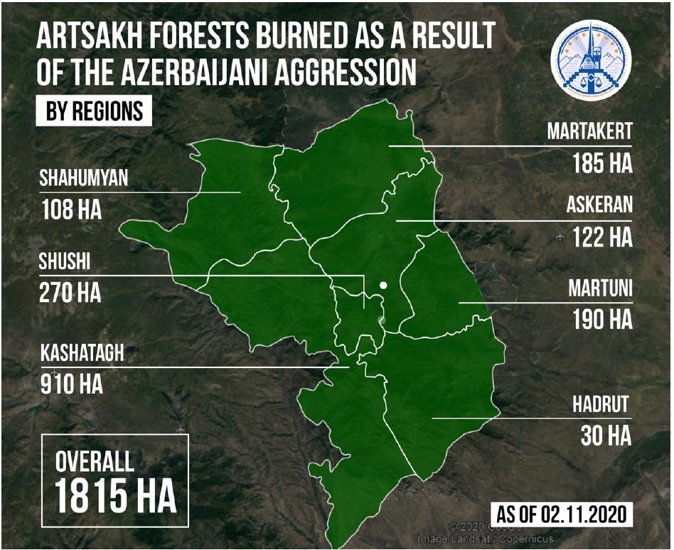 Burnt forests in Artsakh/ Nagorno-Karabakh due to Azerbaijani incendiary attacks using white phosphorus